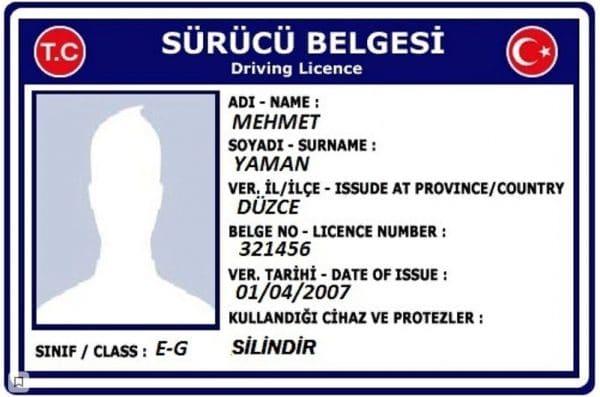 Турецкое водительское удостоверение