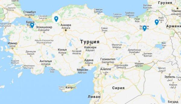 Горнолыжные курорты в Турции на карте