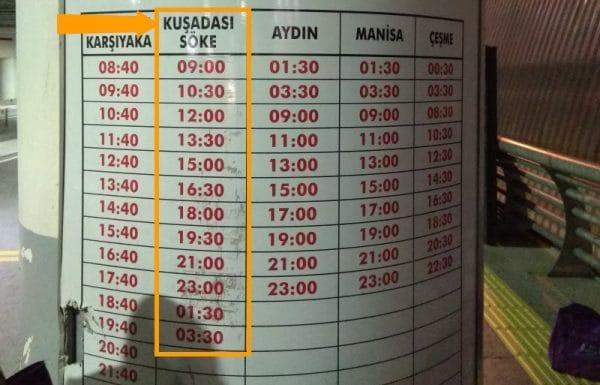 Расписание автобуса из аэропорта Измир в Кушадасы на 2019 год
