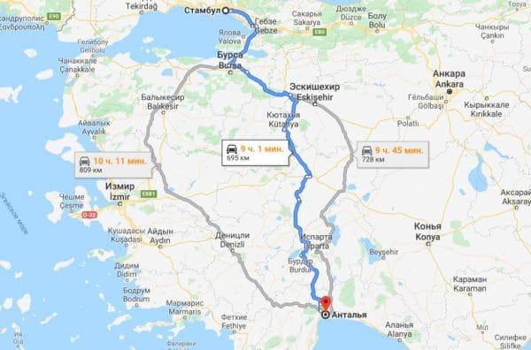 Описание маршрута Стамбул — Анталия