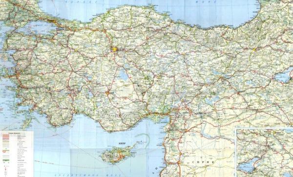 Карта автомобильных дорог в Турции