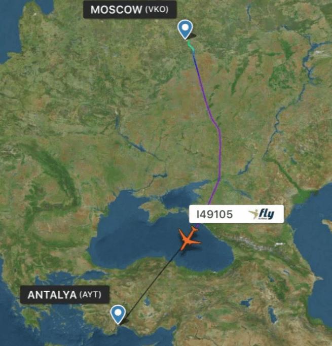 маршрут Москва-Анталия как летит самолет