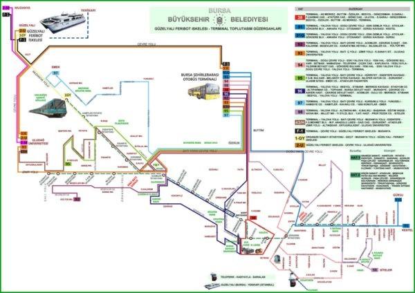 Карта общественного транспорта в Бурсе