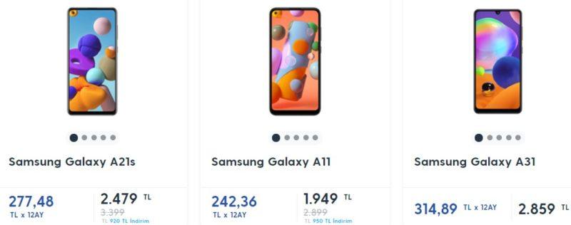 Примерные цены на телефоны Самсунг в Турции